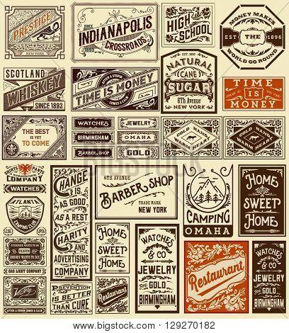 Mega set of old advertisement designs and labels - Vintage illustration