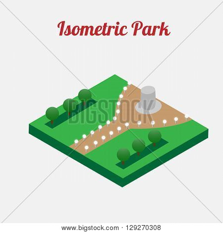 City park furniture. City map elements. Isometric infographic. Isometric vector.