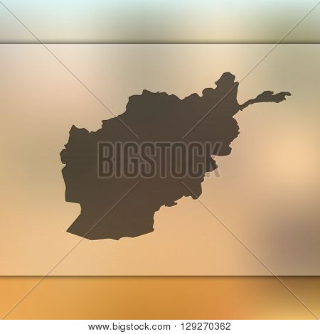 Afghanistan map on blurred background. Afghanistan vector map. Blurred background with silhouette of Afghanistan.