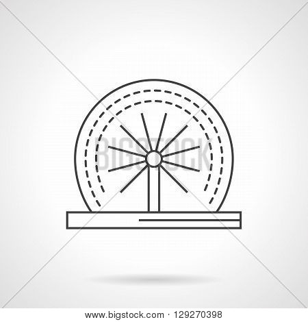 Round rotating dynamic fountain. Decoration for garden, parks and other public places. Small dynamic construction. Flat line style vector icon. Single design element for website, business.