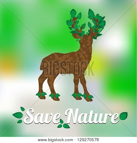 Element for World Environment Day. Deer with horns in the form of a tree with leaves. Inscription Save Nature. Deer Icon. Vector Illustration