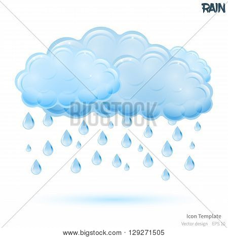 Fully vector rain icon template. Glossy blue cloud object. Glossy waterdrops object. Rain icon template with blue shadow. Rain template icon for various use.
