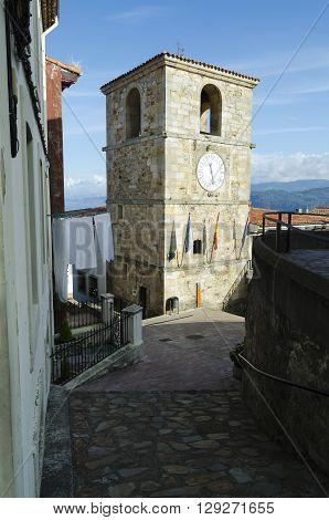 Stone village church in Asturias, northern Spain