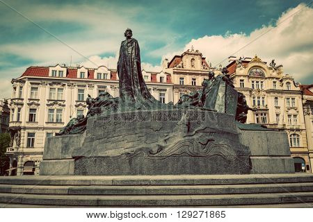 Jan Hus Memorial on the Old Town Square of Prague, Czech Republic. Vintage