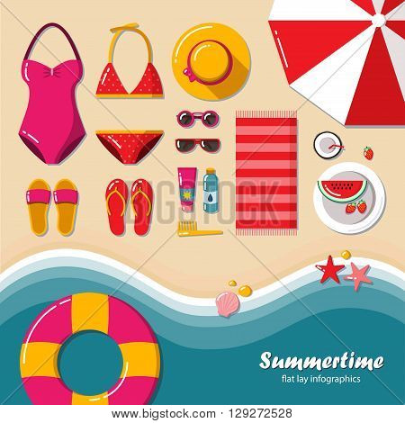 Summertime flat lay infographics. Summer vacation on the beach, travel in style glamor. It can be used in advertising, web design, graphic design for the layout. Vector illustration.
