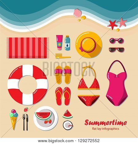 Summertime flat lay infographic. Summer vacation on the beach, travel in style glamor. It can be used in advertising, web design, graphic design for the layout.