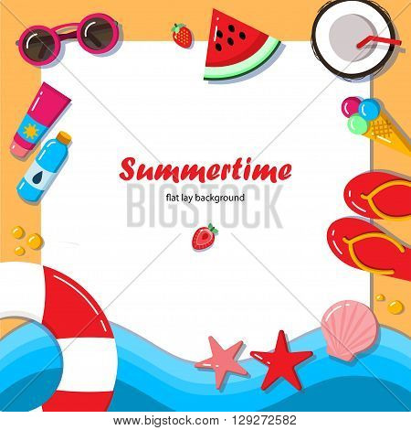 Summertime flat lay background. Summer vacation on the beach. It can be used in advertising, web design, graphic design for the layout.