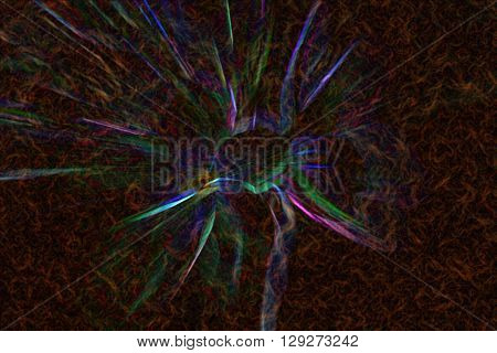 Rainbow Or Spectrum Line On Dark Red And Brown Abstract Background