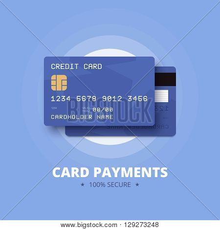Card payments illustration with blue debit card.