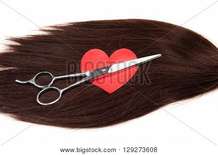 hair heart shape and clippers on white background