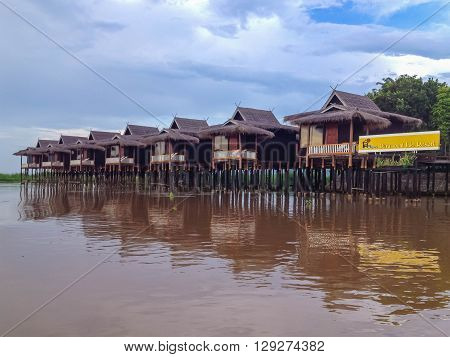 INLE LAKE MYANMAR - MAY 25 2013 : Paramount Inle Resort Over Water villa cottage style in Inle Lake