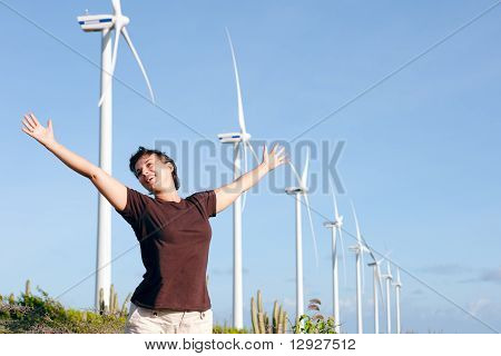 Woman, Windfarm, Aruba