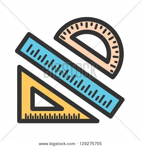 Mathematics, protractor, compass icon vector image. Can also be used for stationery. Suitable for mobile apps, web apps and print media.