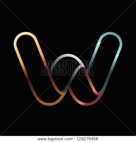 W Letter One Line Golden Logo.
