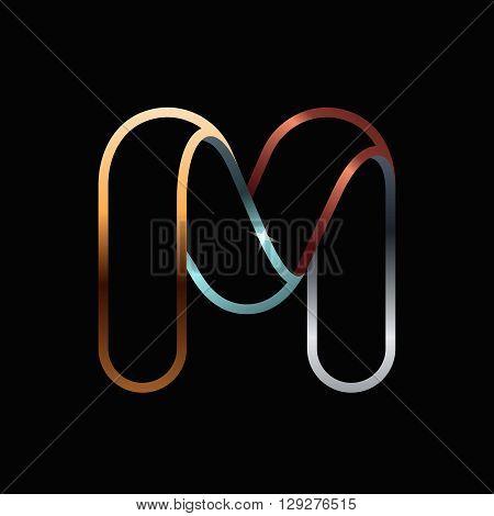 M Letter One Line Golden Logo.