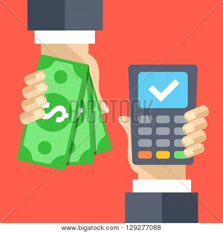 Cash and POS terminal. Purchase, cash out, cashback concepts. Flat illustration, flat design graphic for web sites, web banners, mobile app, infographics, printed materials. Modern vector illustration