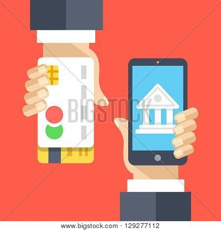 Mobile banking, internet banking, mobile payment flat illustration. Modern flat design concepts for web banners, websites, printed materials, mobile app, infographics. Creative vector illustration