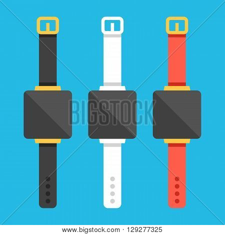 Smartwatches set. Creative smart watches concept with different bracelets. Modern flat design graphic for websites, web banner, web and mobile app, infographics, printed materials. Vector illustration