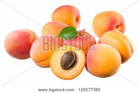 Apricots. Fresh fruit solated on a white background.