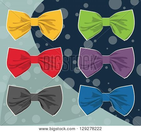 Set of multi-colored bow tie. Vector illustration.