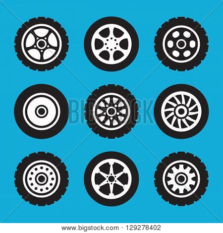 Tires and wheels icons set. Vector icons set isolated on blue background
