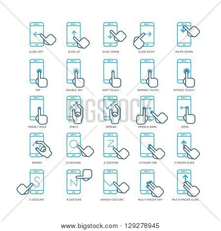 Touch screen hand gestures for smartphones outline icons set. Gesturing screen icon, gesture point smartphone, press gesture illustration