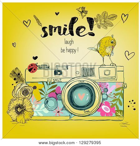 retro camera. Vector illustration. Photo camera with flowers and birds. Camera with floral pattern.