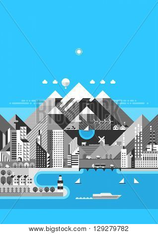 Infographic - Mountain city. Modern city, industry, ecosystem and travel. Flat design