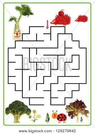 Funny maze game for Preschool Children. Illustration of logical education for children of preschool age.