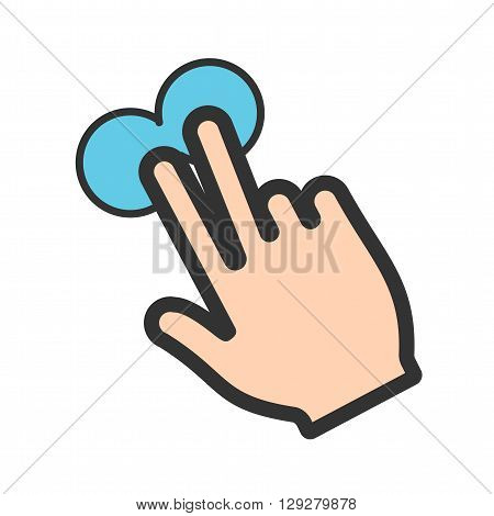 Touch, fingers, device icon vector image.Can also be used for user touch gestures. Suitable for mobile apps, web apps and print media.