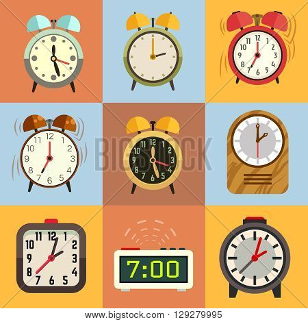Alarm clock flat vector icons. Time clock, icon set clock, face clock illustration