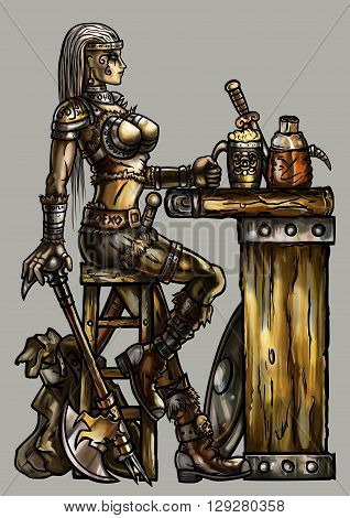 Fantasy illustration warrior woman in light armor with an axe and road bag sitting at the medieval bar. She holds a cup of beer