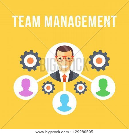 Team management, organizational structure. Company CEO and his team hierarchy. Modern flat design concepts for web banners, web sites, printed materials, infographics. Creative vector illustration