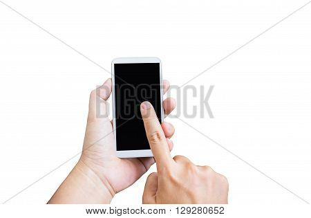 Isolated Hand Press On Blank Black Screen Of Mobile Phone On White Background