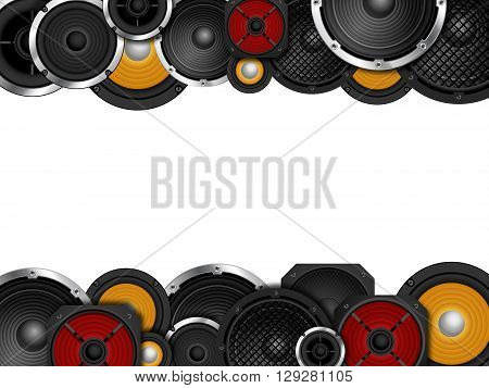 Different types of speaker framing white background copy space