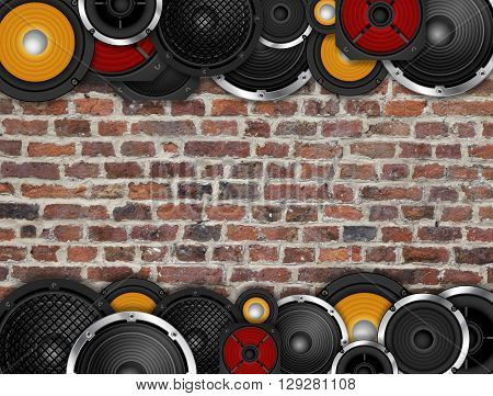 Different types of speaker horizontal frame on brick wall