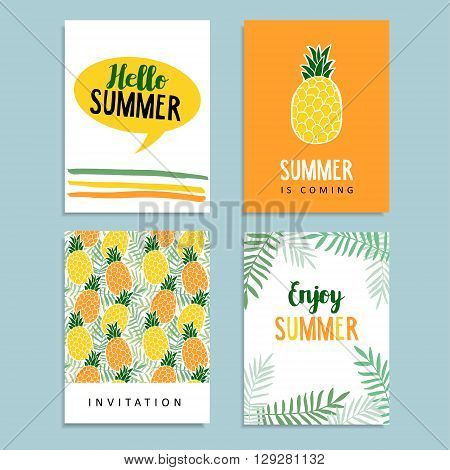 Set of summer greeting cards. Journaling cards. Birthday invitation. Pineapple fruit palm leaves background. Tropical flat design. Stock vector illustration
