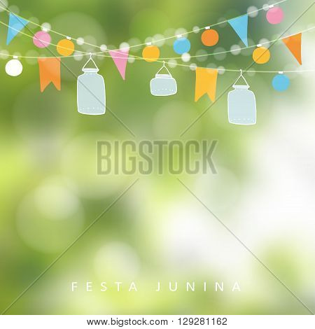 Brazilian june party festa junina. String of lights jar lanterns. Party decoration. Birthday garden party. Blurred vector background banner.