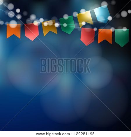 Brazilian june party. Festa junina. String of lights party flags. Party decoration. Festive night blurred background. Stock vector illustration.