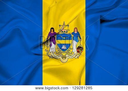 Waving Flag of Philadelphia Pennsylvania, with beautiful satin background