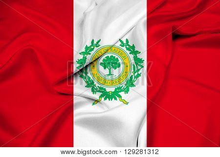 Waving Flag of Raleigh North Carolina, with beautiful satin background