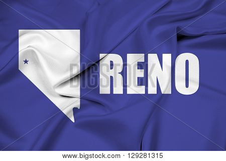Waving Flag of Reno Nevada, with beautiful satin background
