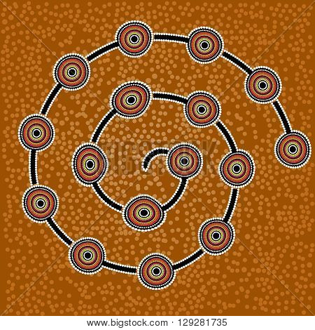 Australia Aboriginal art vector background with dots. Fish