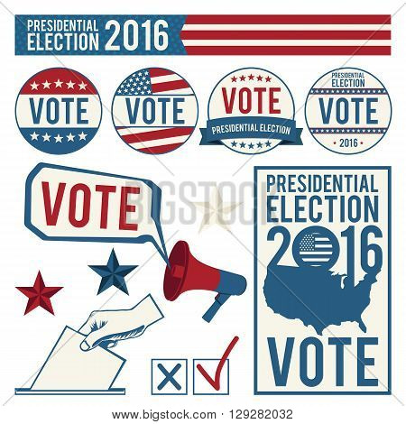 Elections. Signs of voting. Design elements and symbols of the US president election 2016. Vector illustration.