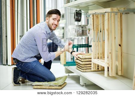 male caucasian customer buy in hardware store