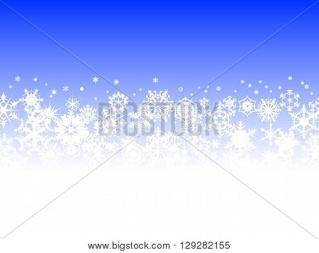 Snowflakes falling against blue background christmas illustration
