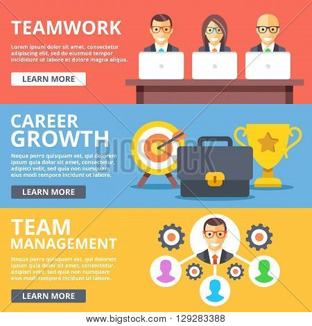 Teamwork, career growth, team management flat illustration concepts set. Creative modern flat design concept for web banners, web sites, printed materials, infographics. Vector illustration