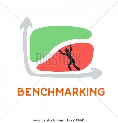 Benchmarking concept logo, vector icon