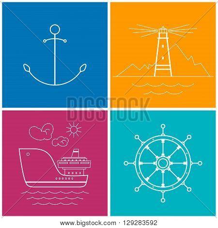 Set of Colorful Maritime Icons for Web Design, Anchor Icon, Lighthouse Icon , Cargo Ship Icon, Ship's Wheel Icon, Vector Illustration