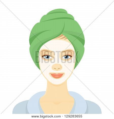 Woman with a cosmetic face mask. Smiling girl portrait. Clean skin, cosmetics concept, fresh healthy face. Beautiful model. Graphic design element for spa or beauty salon poster